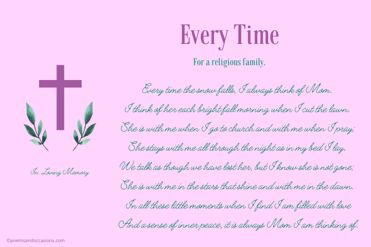Funeral religious poems for mom