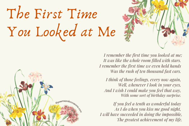 First time you looked at me