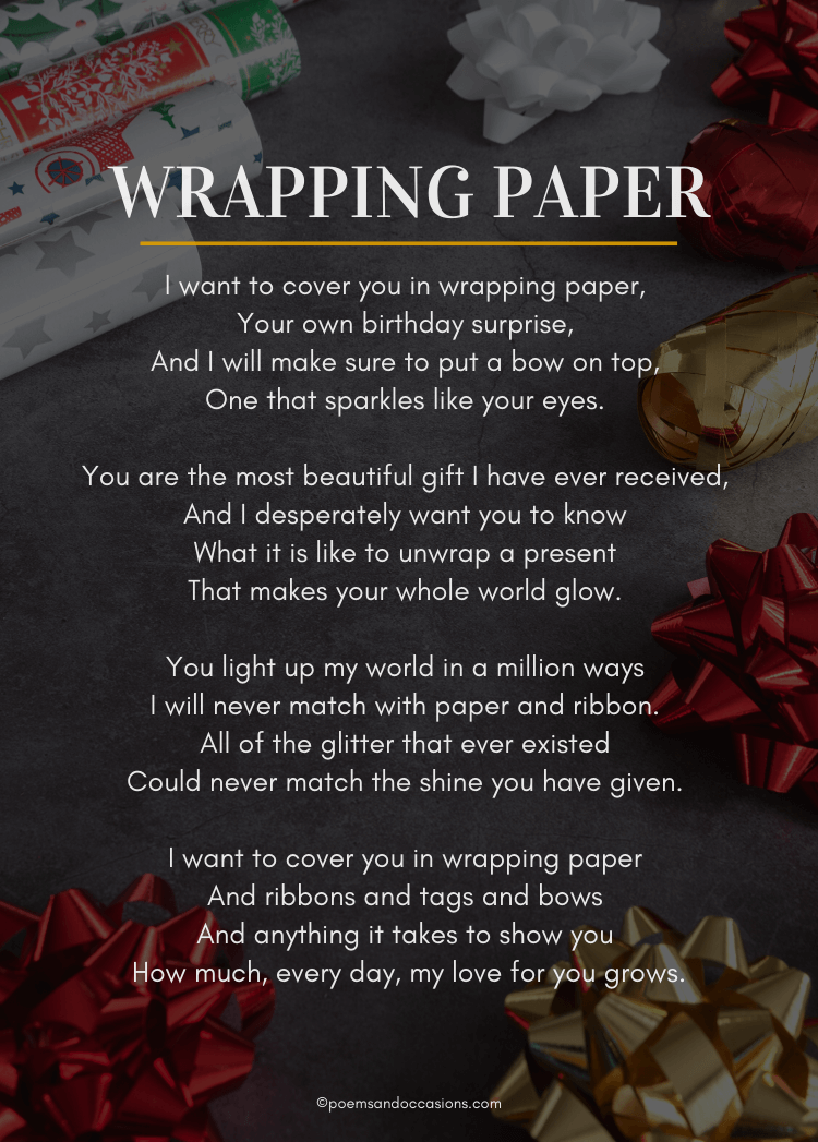 wrapping paper birthday poem