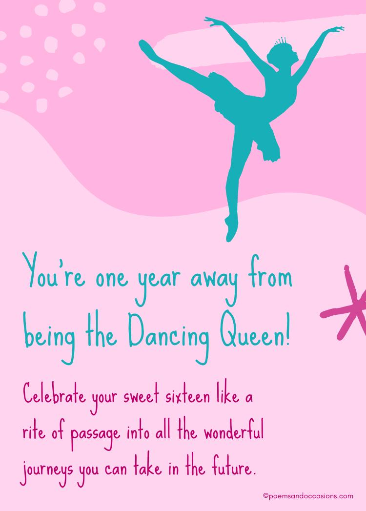 Sweet sixteen birthday dancing queen