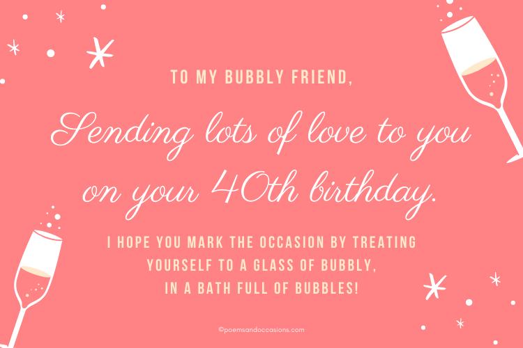 celebrating 40th birthday with bubbly