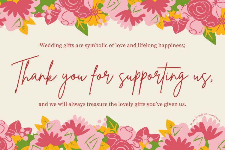 Thank you messages for wedding gift