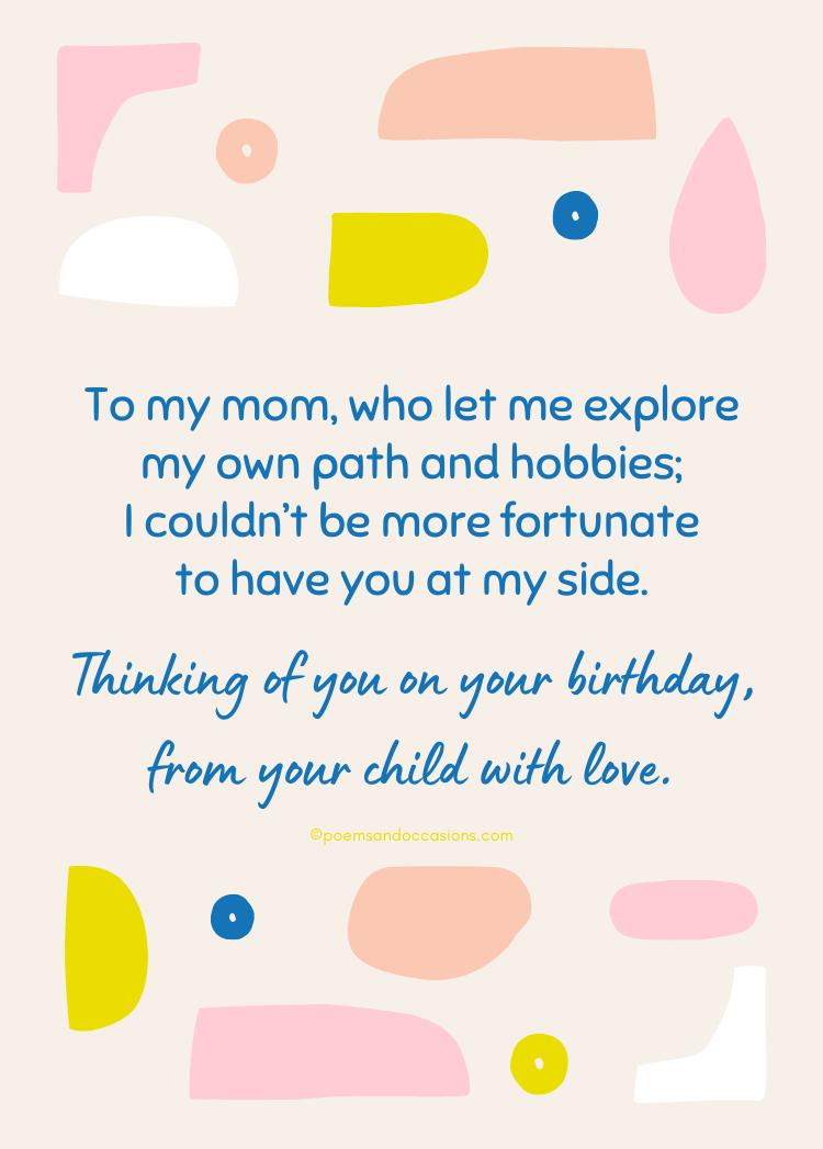 on your birthday mom