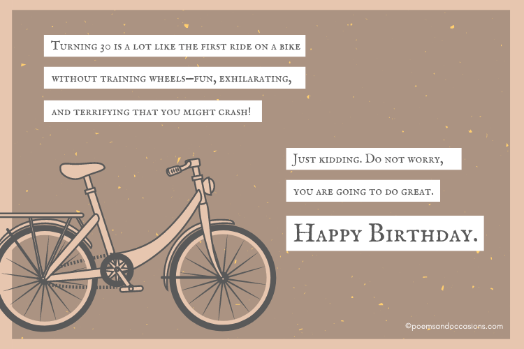 Turning 30 is like riding a bike