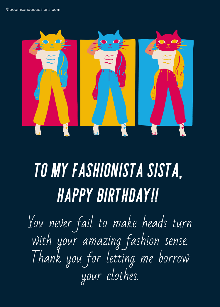 Happy birthday to my fashionable sis