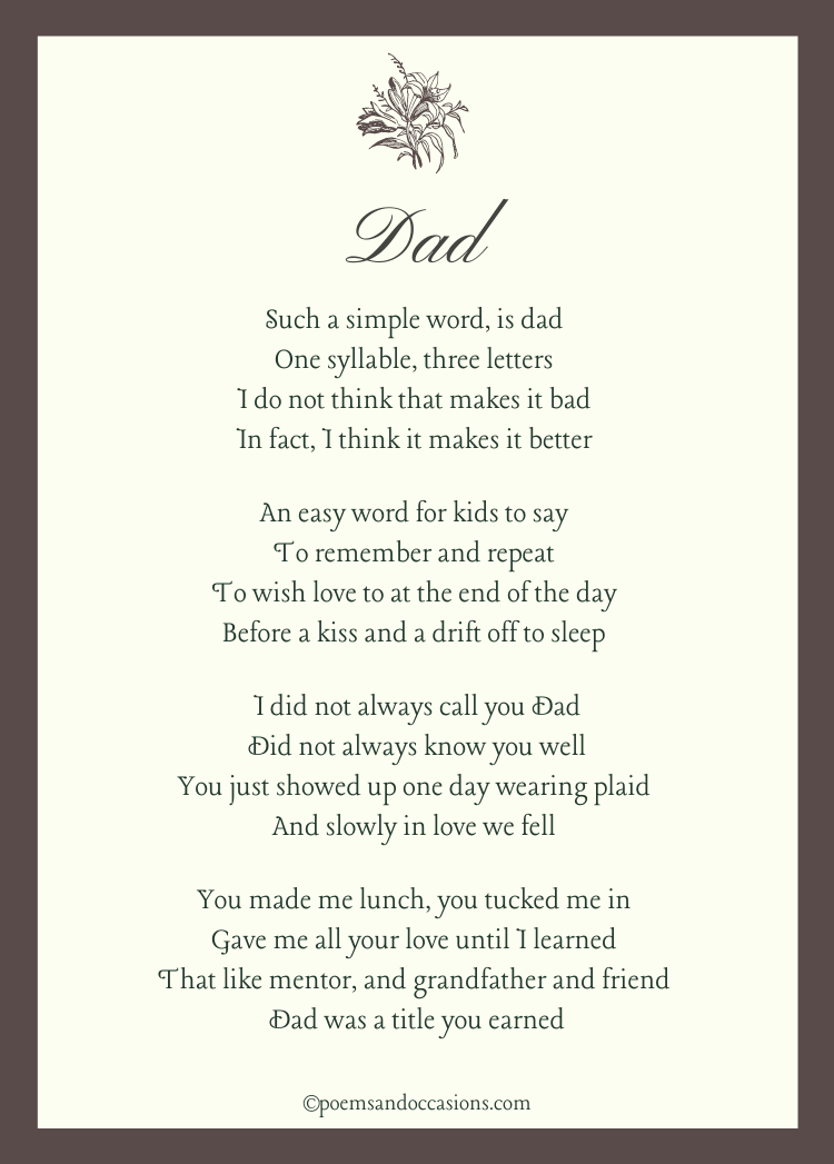 funeral poems for stepdad