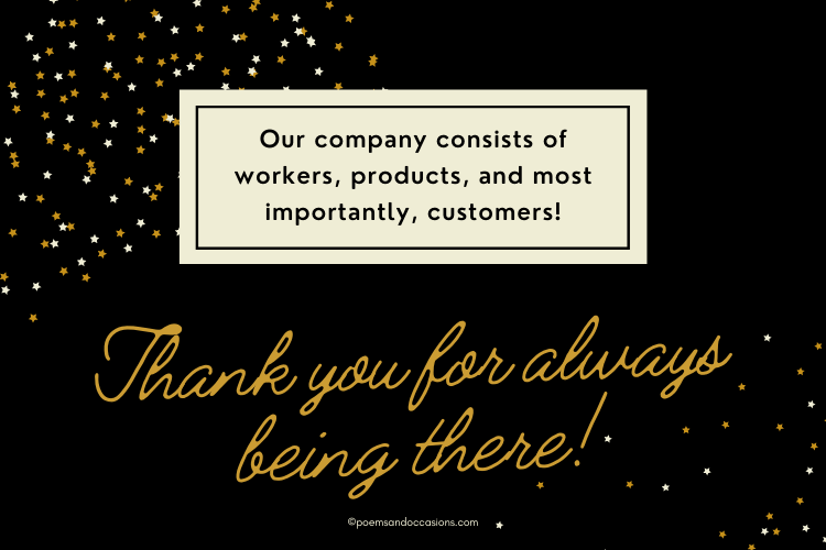 Thank you for your business, customers