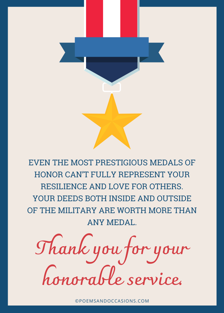Thank you for your honorable service