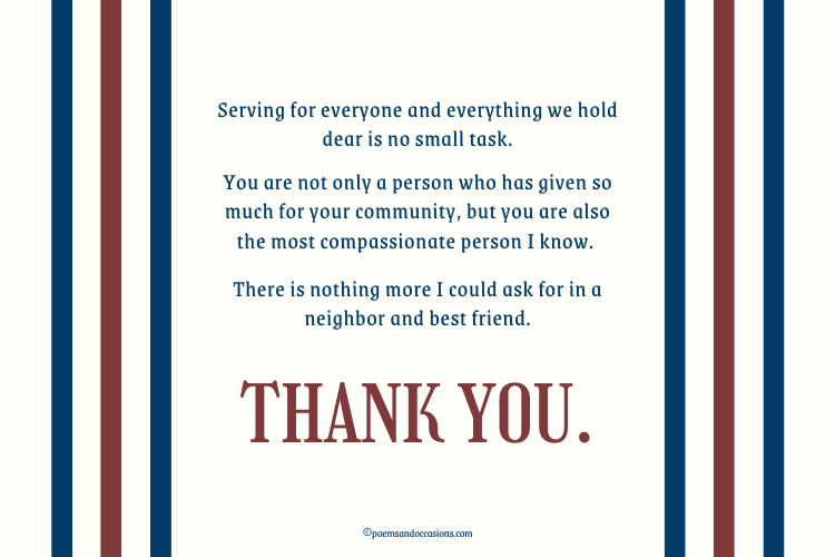 Thank you for your service, neighbor