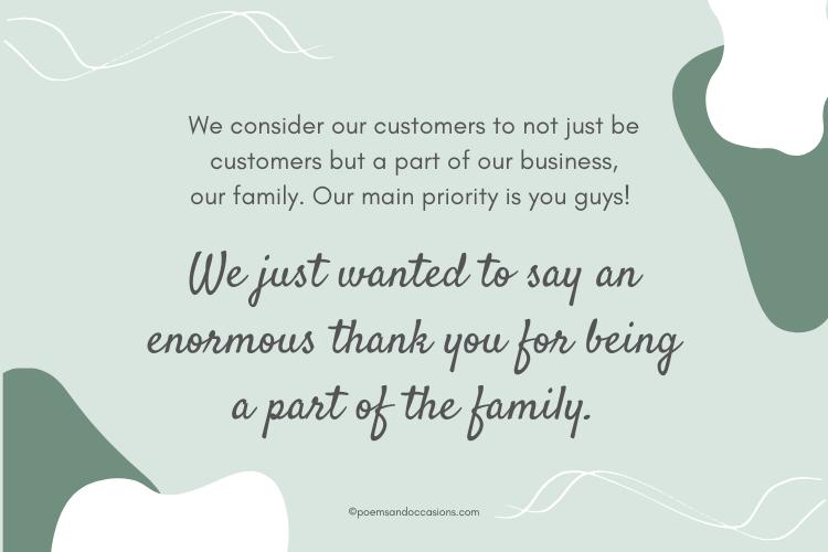 customer appreciation messages
