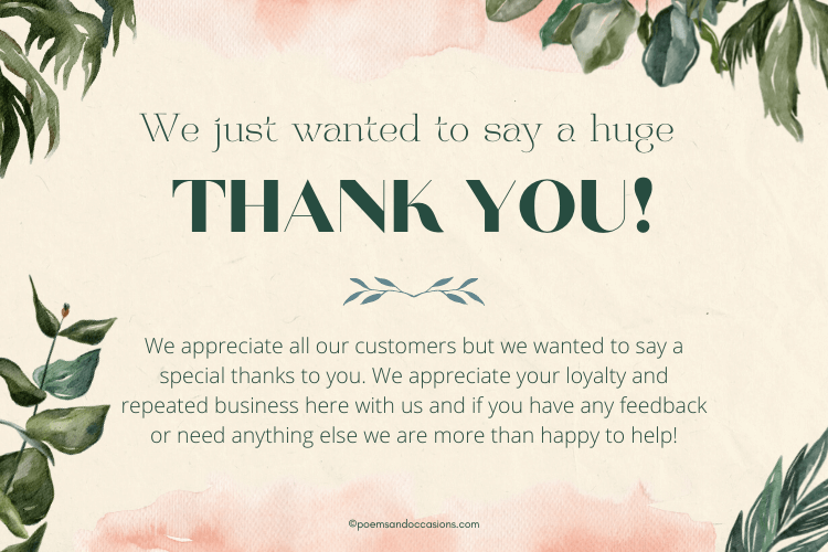 thank you for your business loyal customers