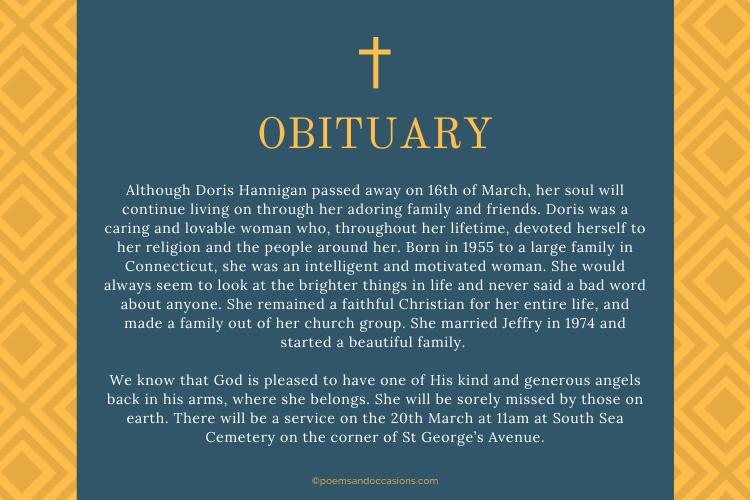 Christian obituary template