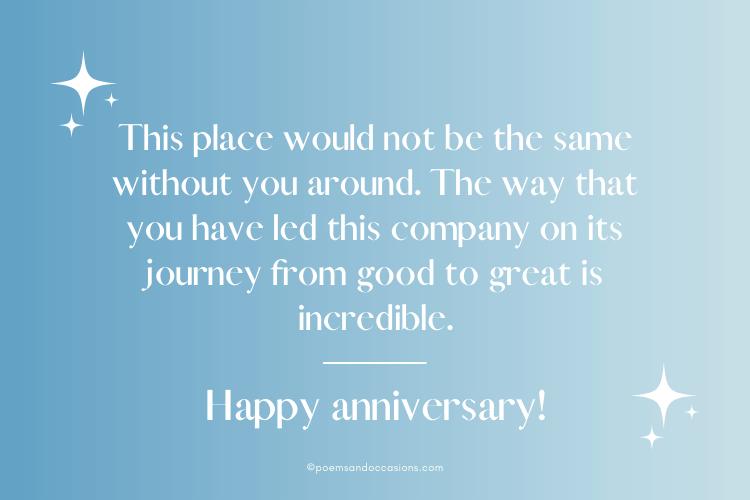 Happy Work Anniversary To Boss