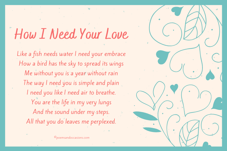 How I Need Your Love