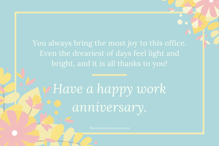 Work Anniversary Messages For A Colleague