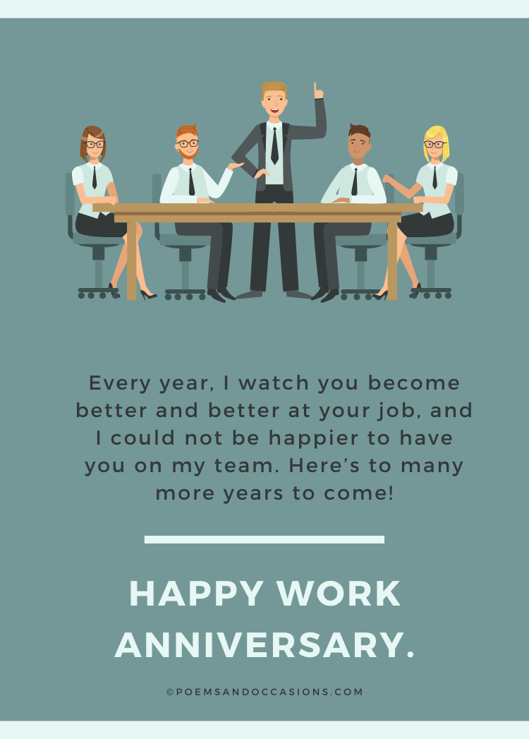 Work anniversary wishes for an employee