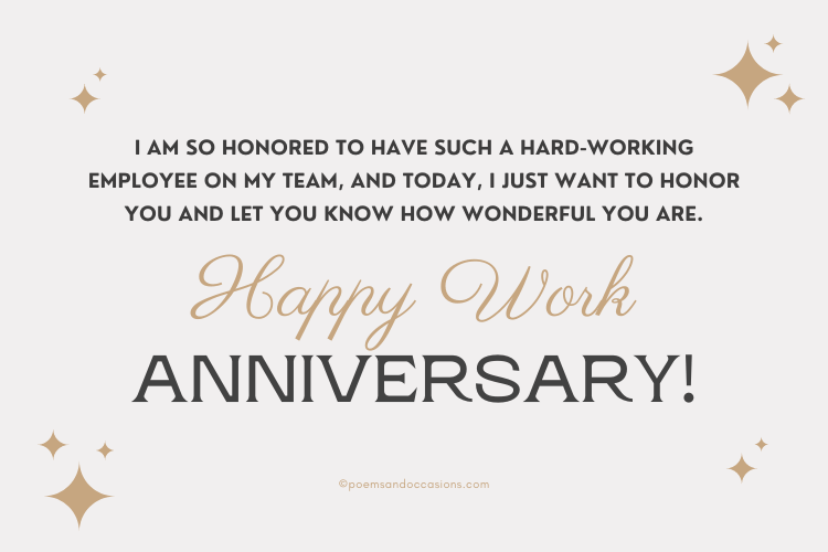 work anniversary of a hard working employee